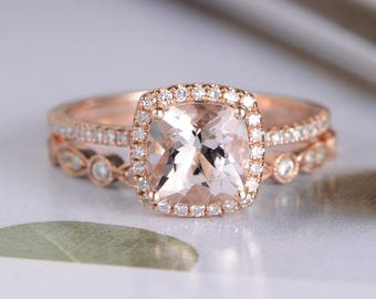 Rose Gold Engagement Ring Morganite Cushion Cut Antique Diamond Wedding Band Women Halo Half Eternity Bridal Set Anniversary Unique