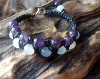 Amethyst and moonstone macrame balance bracelet.