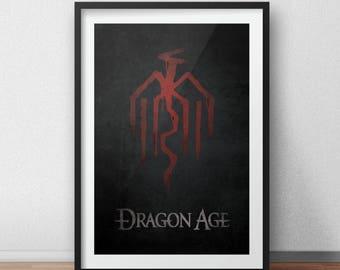 Dragon Age Video Game Poster, Kirkwall Dragon Print