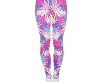 Hot Pink Weed Flower Leggings