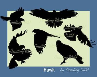 Hawk silhouette svg clipart american hawk cutout printable bird falk png birds print vector graphic commercial print nature silhouette
