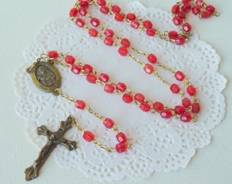 Brass Tone Rosary Gold Tone Rosary Religious, Saint Therese, Crucifix Religious Jewelry, Old Rosary, Red Color Catholic Rosary, 70's Rosary
