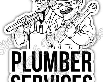 Plumber Services Plumbing Pipe Monkey Wrench Car Bumper Vinyl Sticker Decal