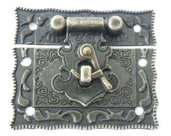 1 Chests-Castle Vintage 55 x 47 mm Antique brass Boxes-crates-Castle Treasure Chest
