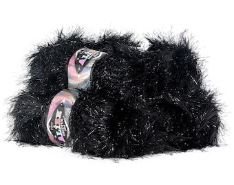 5 x 100 g ALIZE DECOFUR SIM, #60-01 fringe Cardigan with lurex black