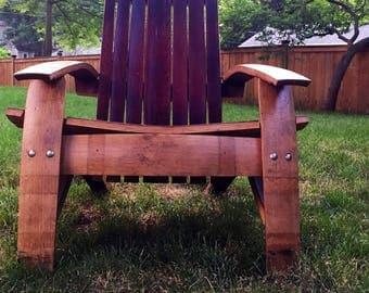 Wine barrel Adirondack chair with French oak red wine barrel, Napa wine barrel furniture