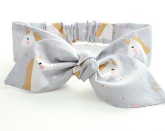 Gold unicorn baby headband, baby topknot, knotted headband, baby headband, baby headband, metallic gold unicorns