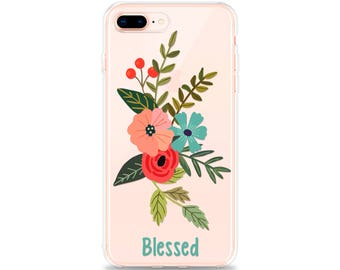 Gift for Women, iPhone X Case BLESSED iPhone 8 Case iPhone 7 Case iPhone 6s Case iPhone 7 Plus Case iPhone SE Case iPhone 8 Plus Case Floral