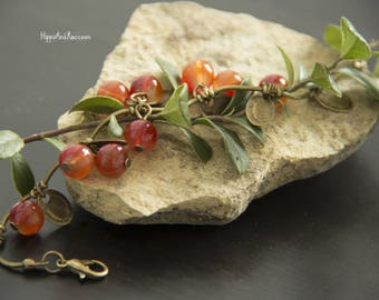 A beautiful female bronze bracelet with red currant berries Charm bracelet Bronze bracelet Floral bracelet A gift for her.
