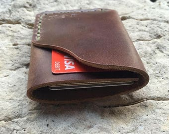Full grain minimalist leather wallet/ natural Horween chromexcel wallet/ personalized leather wallet