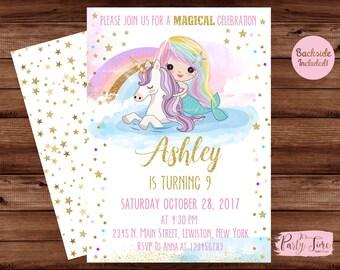 Magical Rainbow Mermaid and Unicorn Birthday Invitation - Mermaid and Unicorn Invitation - Unicorn Invitation -  Mermaid invitation