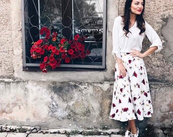 Floral skirt for women, Flared long skirt, Poppy skirt, A line midi skirt, High waisted midi skirt, Summer skirts for women, Pleated skirt