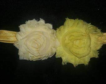 Yellow shabby flowers headband