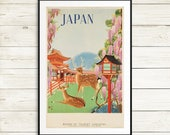 Vintage Japan travel poster, japan poster, vintage travel poster, japanese poster, japan art prints, japanese wall art, japan poster prints