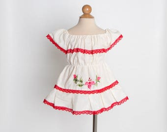 vintage 70s baby dress | girl's Mexican dress