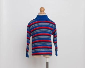 vintage 80s toddler boy striped turtleneck shirt