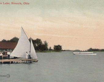 Newark, Ohio Vintage Postcard - Buckeye Lake, Sailboating, Camping, Vacation Resort