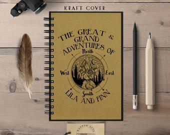 Travel Notebook, Travel Journal, Compass, Custom Journal, Custom Notebook, Personalized Travel Journal, Spiral Notebook, Adventure Journal