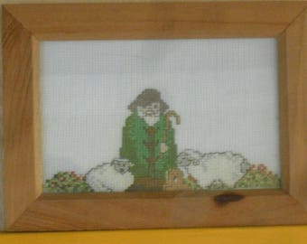 embroidery framed counted stitch pattern, Shepherd and sheep