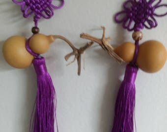 2 Cute gourd decor with silk Tassel  car decor , home decor