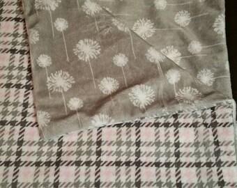 Minky Carseat Blanket - Pink herringbone with dandelions