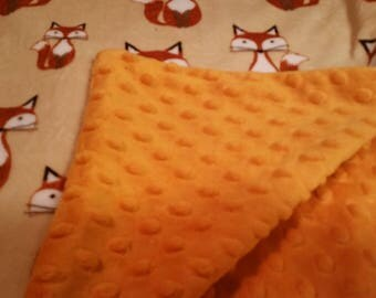 Minky Carseat Blanket - Orange with Foxes
