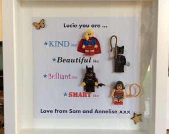 Handmade Personalised Picture Frame Lego Superhero Mum Sister Aunty Daughter Female Valentines Mothers Day