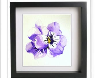 purple watercolor painting, handmade,original artwork, pansy,not print, floral, decoration, flower, wall décor, home décor, nature,botanical