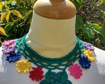 Crochet flower necklace, collar, neckpiece