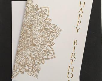 "Mandala birthday card, 5""x7"" card, gold, wrap around design, Happy Birthday"