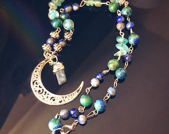 Crescent Moon Kyanite Necklace