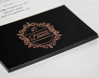 Rose Gold folio Business card print,folio rose gold calling card print, thank you card printed rose gold folio, rose gold folio print