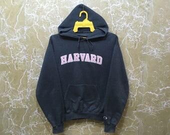 Vintage Champion Harvard university hooded crewneck sweatshirt jumper pullover S size gray colour