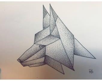 Pointillism Geometric Wolf