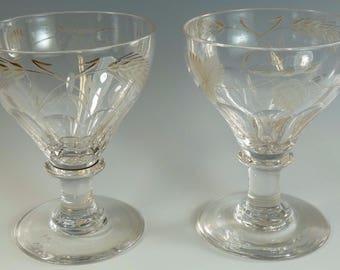 "Antique VICTORIAN - Pair Fruiting Vine Petal Cut RUMMER - 4 3/4"" - #AGR3"