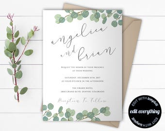 Eucalyptus Greenery Wedding Invitation Template - Eucalyptus Wedding Invitation Template - Green Eucalyptus Leaves Wedding Invitation Set