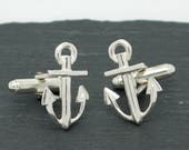 Sterling Silver Anchor Cufflinks Silver cufflinks Classic cufflinks mens jewellery sailor gifts
