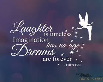 DISNEY TINKER BELL Fairy Decal, Stardust, Positive Saying Phrase, Nursery, Kids Room, Bedroom Wall Decor Decal, Lettering Custom Size Colour