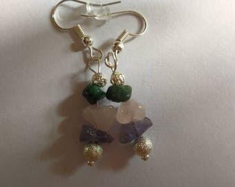 Homemade Tanzanite, Rose quartz and Emerald silver plated earrings