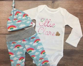 Rainbow Baby Newborn outfit, Rainbow Baby Girl Outfit, Custom Baby Outfit, Custom Bodysuit, Name Bodysuit, Rainbow baby, Rainbow Outfit