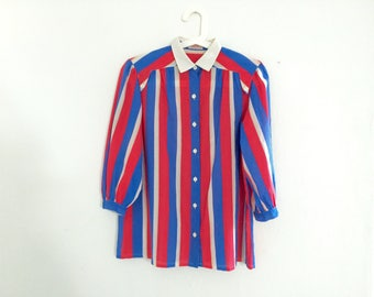vintage french colors stripes shirt/elegant and retro/ brit and mods/ urban and street/ made in france