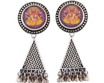 Lord Ganesha Earrings-hand Painted earrings-Inspired by Indian scriptures