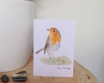 Robin on the grass: A6 blank greeting card on recycled card.
