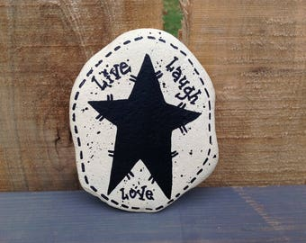 Live Laugh Love Painted Rock Paperweight, Office Supply