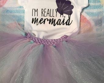 Baby Girl Mermaid Onesie & Tutu Set