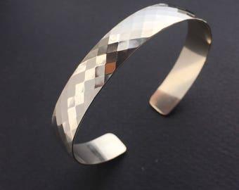 Sterling Wide Diamond Textured Cuff Bracelet