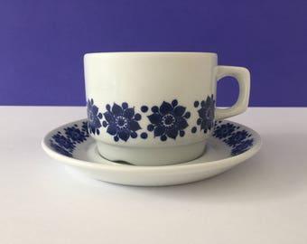 Vintage Figgjo Blue Flower Norway Cup & Saucer