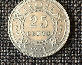 1987 Belize 25 cents coin