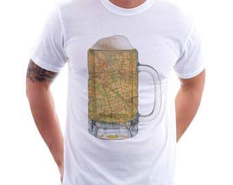 Queens NY Map Beer Mug Tee, Vintage City Maps Beer Mug Tees, Beer T-Shirt, Beer Thinkers, Beer Lovers, Cities, Beer Lover Tees