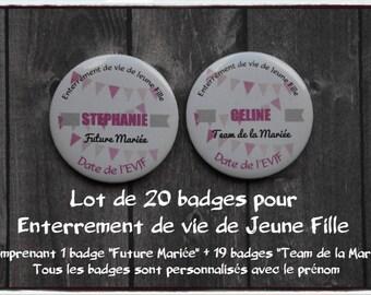 20 56 mm for bachelor party girl - Future bride - bride - bachelorette party - wedding Team badges